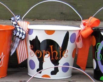 Personalized White 5QT Halloween Trick or Treat Bucket with Handles/Black Cat Designs with Name/Additional Designs to Choose From