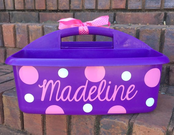 Ordinaire Personalized Purple Shower Caddy With Polka Dots With Name | Etsy