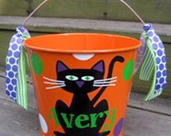 Personalized 5QT Halloween Trick or Treating Bucket with Handles/Orange Black Cat with Name/Many Designs to Choose From