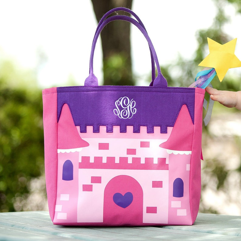 Monogrammed Pink and Purple Princess Castle Halloween Bag; Great for Little Girls; In stock /& ready to monogram and ship out