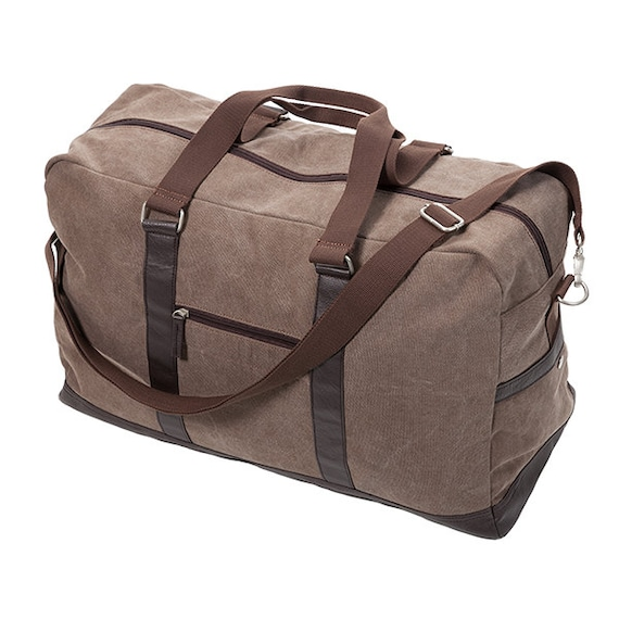 2781ccf6612d Monogrammed Large Brown Brushed Canvas Duffle Bag Trimmed in