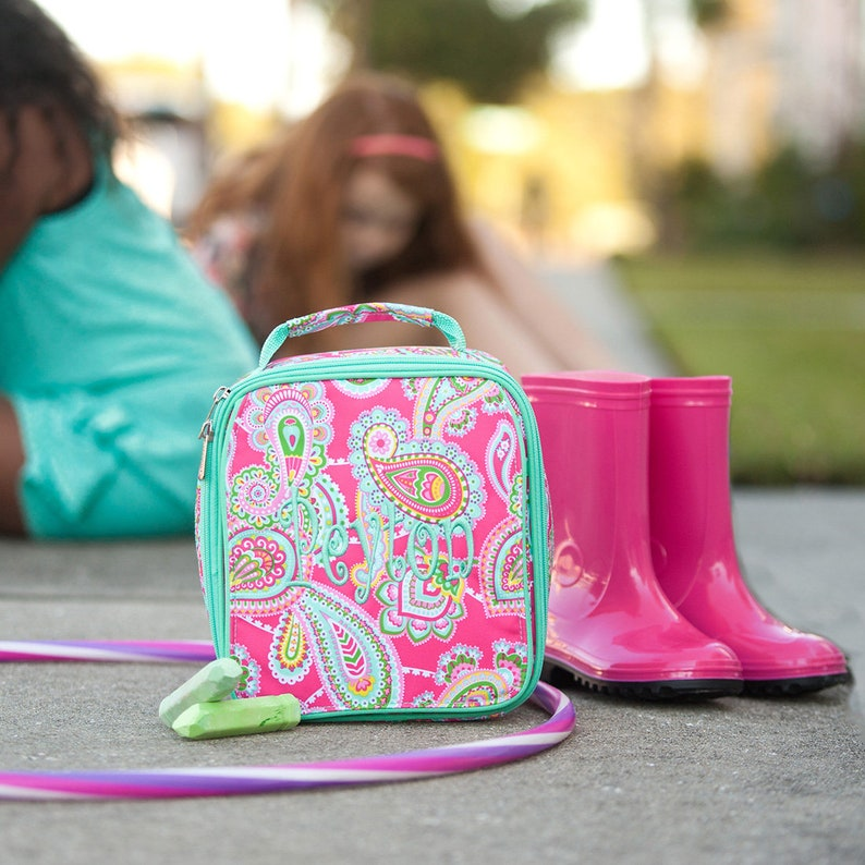 Lunch Box /& Tote Bag; Back to School; Girls Luggage Set Monogrammed Hot Pink Paisley Lizzie Backpack Special 3 Piece Set