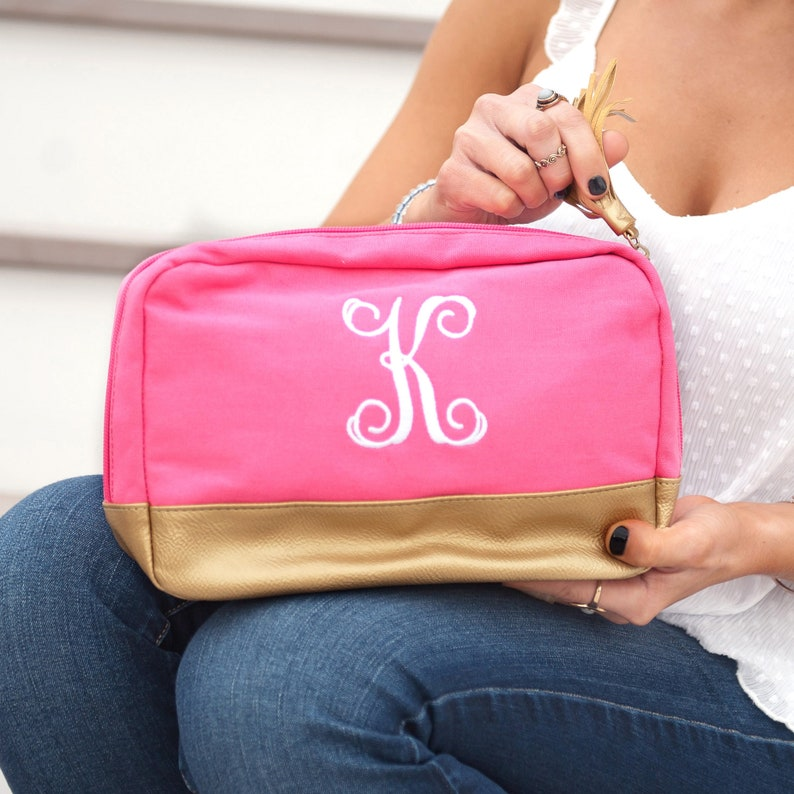 Monogrammed Hot Pink Cabana Cosmetic Bag Trimmed in Gold