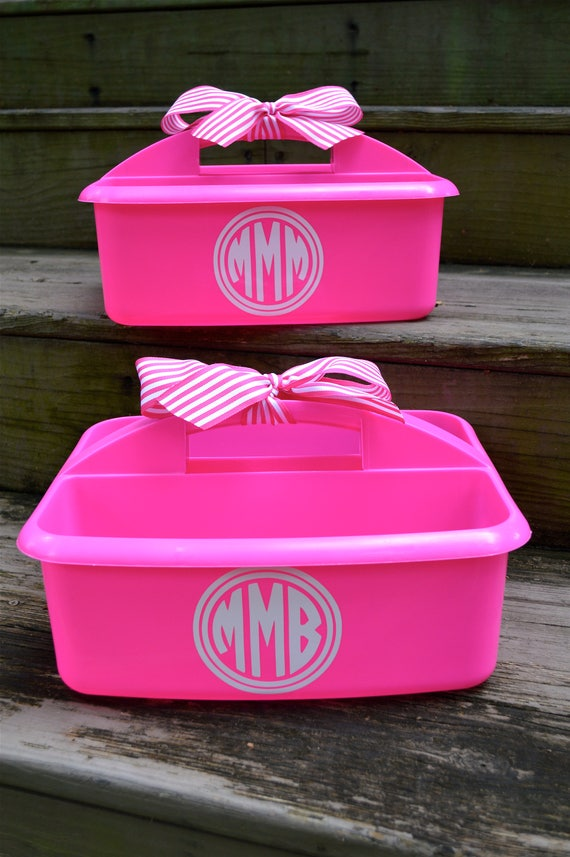 Personalized Hot Pink Shower Caddy with Double Circle and