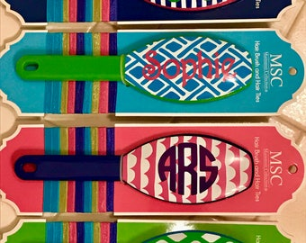 Personalized Hairbrushes & Hair Tie Set ; 4 Patterns to Choose from; Great Birthday Gift/Christmas Gift/Stocking Stuffer