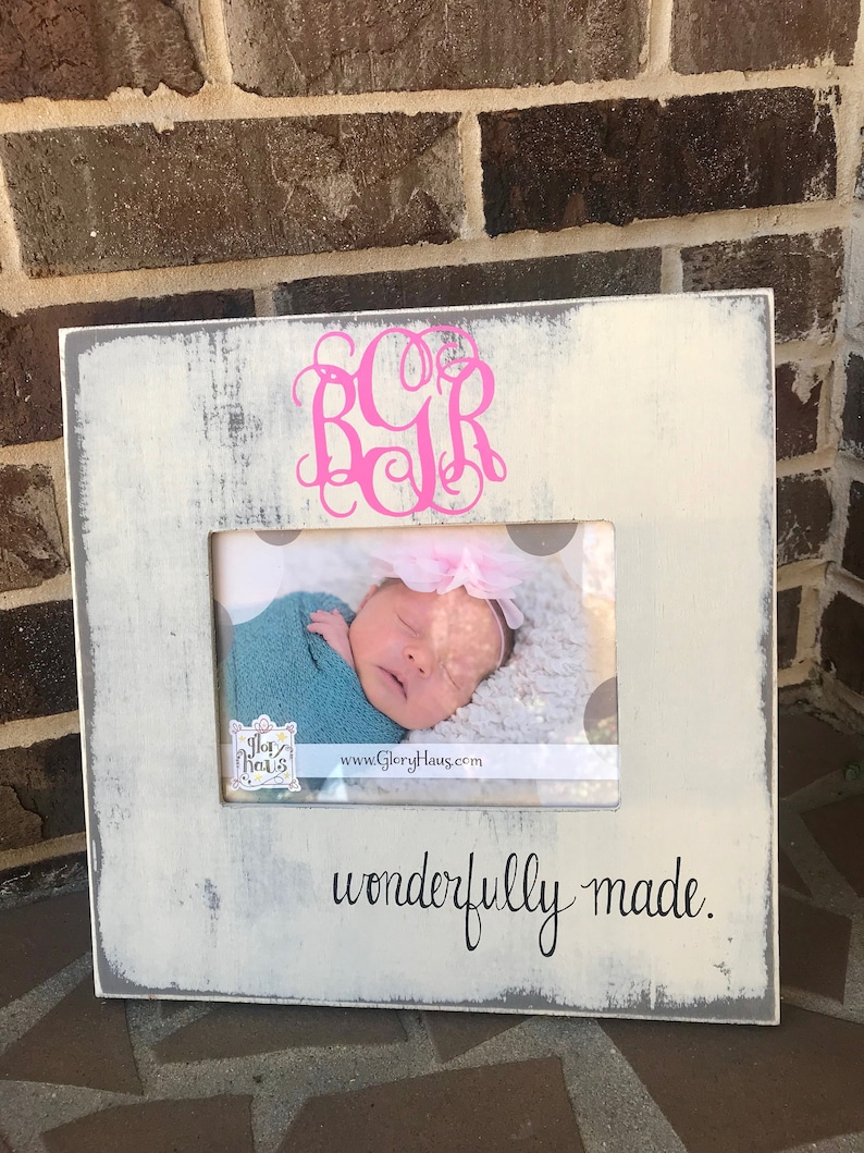 Personalized Wonderfully Made Picture Frame; Perfect Baby Shower Gift; Take to the Hospital Gift