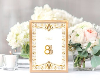 printable art deco wedding table numbers gorgeous gatsby - instant download gold and white wedding decoration 1920s table cards Art Nouveau