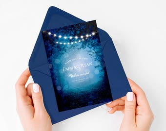 into the woods printable woodland save the date wedding announcement diy fairytale fantasy forest trees fairy lights blue magical whimsical
