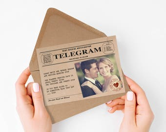 vintage telegram photo save the date or engagement announcement - printable file - rustic retro, unique, 1920s 1930s 1940s, kraft paper look