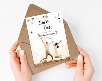 boho wedding save the date card - wanderlust -  photo announcement diy printable, country, bohemian, destination wedding, travel, fun stars