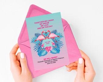 save the date destination wedding, tropical save the date PRINTABLE flamingo save the date, fun tropical wedding, destination save the date