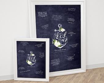 nautical wedding signature guest book poster - diy printable file, keepsake art decor monogram beach sea navy roses chalkboard anchors away