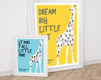 giraffe fingerprint guestbook - printable file - for baby shower or birthday party, safari nursery art, custom thumbprint, animal, keepsake