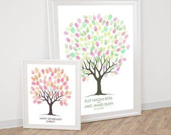 guest book wedding fingerprint tree PRINTABLE, fingerprint guest book tree, thumbprint tree sketch retirement guest book, gästebuch hochzeit