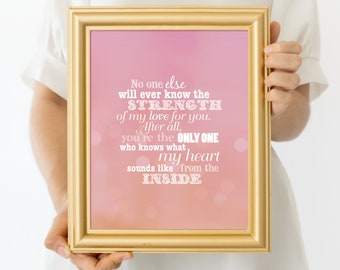 strength of my love PRINTABLE art, pink print, baby girls nursery decor, little girls room, inspirational quotes sayings, girls wall decor