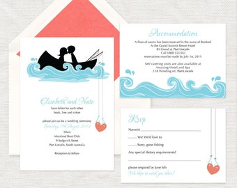 hooked on you invitation - printable file - fishing wedding, row boat DIY wedding invitation, bridal or couples shower, boating, canoe, lake