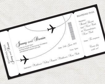 Wedding Plane Ticket Etsy