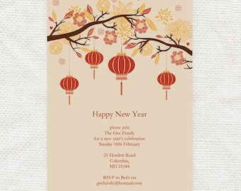 chinese new year invitation printable file lantern tree asian diy editable party invite instant download birthday invite dinner party