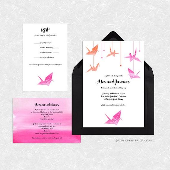 Origami Paper Crane Wedding Invitation Suite Printable File Etsy