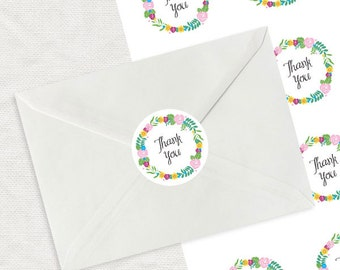 colourful floral wreath thank you label - printable diy stickers - round envelope seal, wedding thank you stationery, shop branding business