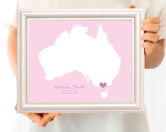 custom birth print map - ANY LOCATION - birth stats artwork, baby keepsake, nursery art PRINTABLE digital, personalised country or state