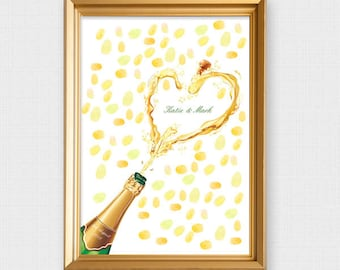champagne fingerprint guest book - printable file - custom thumbprint tree alternative bottle new years eve, engagement party, wine, alcohol