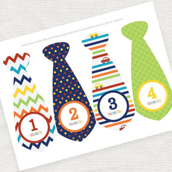image about Printable Ties known as every month kid boy improvement stickers ties - do-it-yourself printable obtain - vibrant cars and trucks, child picture prop, milestone stickers, keepsake thirty day period sticker