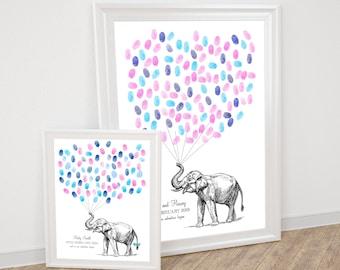 elephant guest book for wedding or baby shower fingerprint - printable file - vintage illustration, safari wild animal, balloon thumbprint