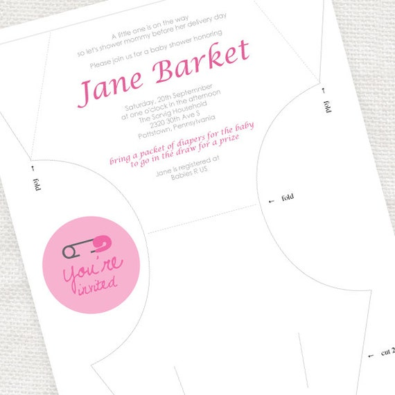 Diy Diaper Printable Baby Shower Invitation Template Digital File Nappy Baby Shower Invite Kit Baby Girl Pink Polka Dot Instant Download
