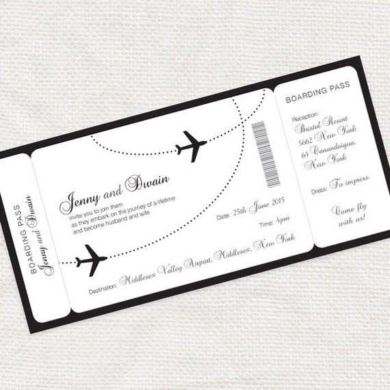 Come fly with me boarding pass wedding invitation printable etsy image 0 stopboris Image collections