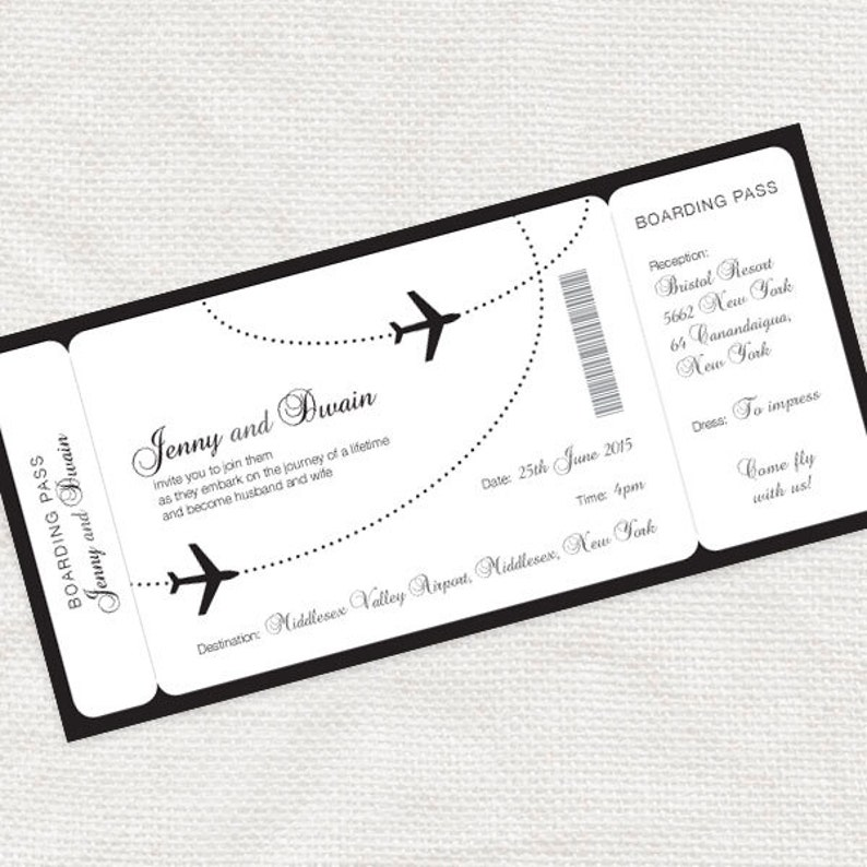 Boarding Pass Wedding Invitations.Come Fly With Me Boarding Pass Wedding Invitation Printable File Aviation Airplane Destination Black And White Customised