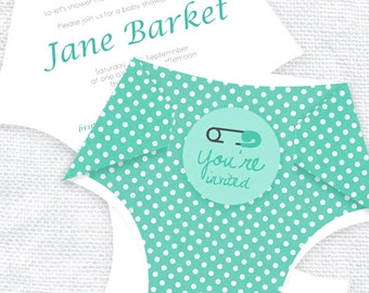 diy diaper printable baby shower invitation template digital file turquoise - nappy baby shower invite kit baby boy or girl instant download