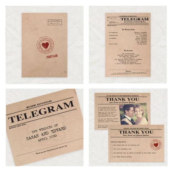 Vintage Telegram Papeteria ślubna Nadający Się Do Wydruku Etsy