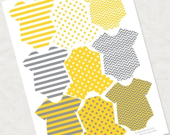gender neutral baby shower decorations in yellow and grey - printable instant download - patterned girl boy striped dottie zig zag favor