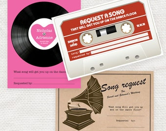 wedding song request card - printable file - vintage gramophone, retro cassette tape or record