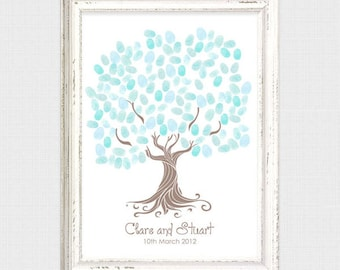 whimsical wedding fingerprint tree guestbook - printable file - thumbprint tree, guest book tree, fun, unique, personalized, wedding tree