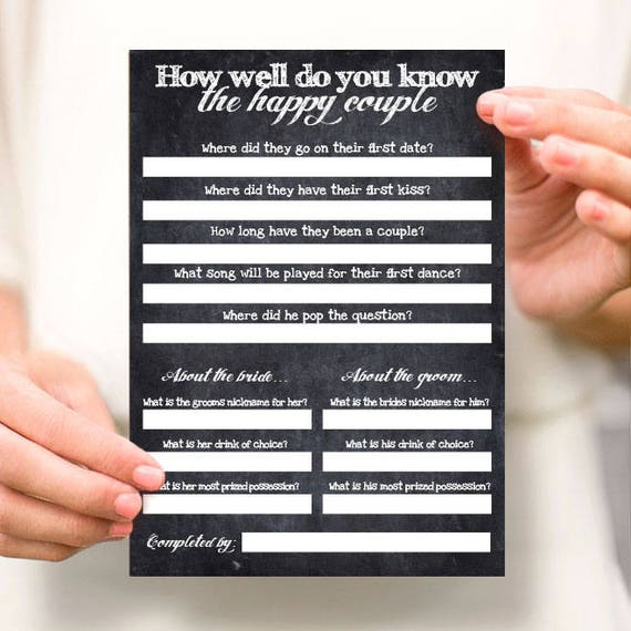 Wedding Reception Games Couples Shower Games Printable Etsy