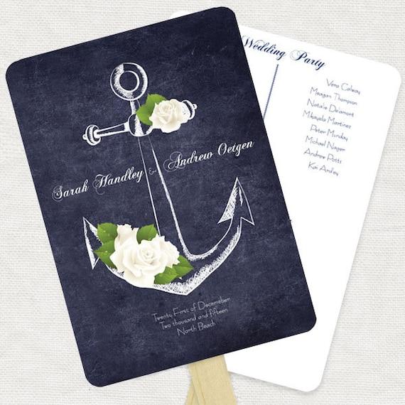 nautical wedding ceremony program fan anchors away printable etsy