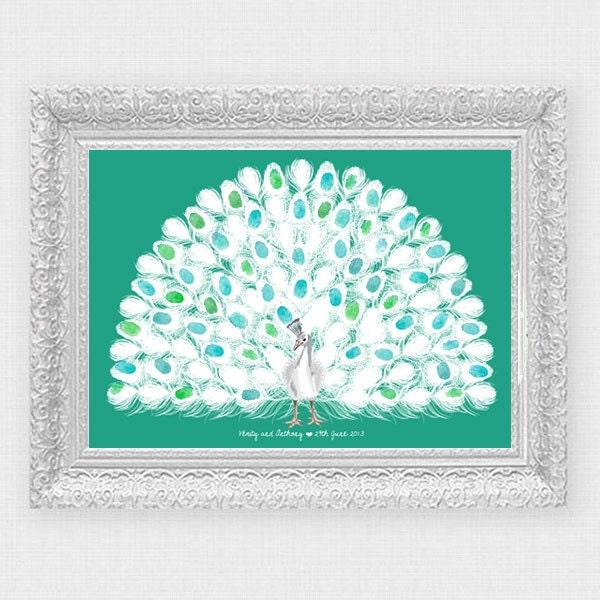 Peacock Wedding Ideas Etsy: White Peacock Fingerprint Wedding Guest Book Customised