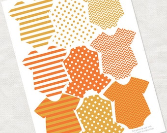 baby one piece orange tags for baby shower decorations - printable instant download, halloween autumn fall pattern girl boy striped favor