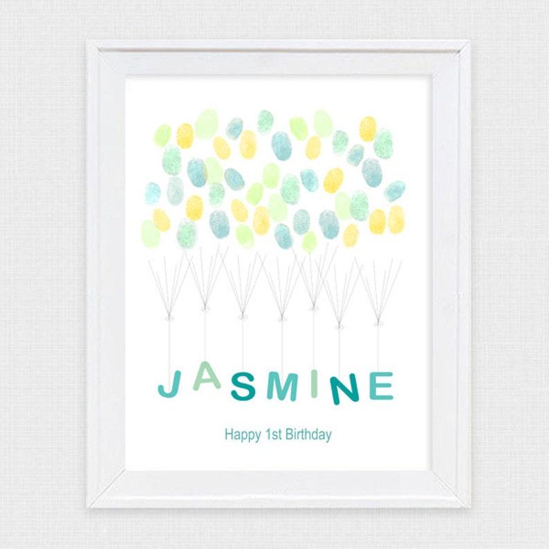 personalised nursery art custom child/'s name fingerprint guest book baby shower gift naming day boy girl printable file christening gift