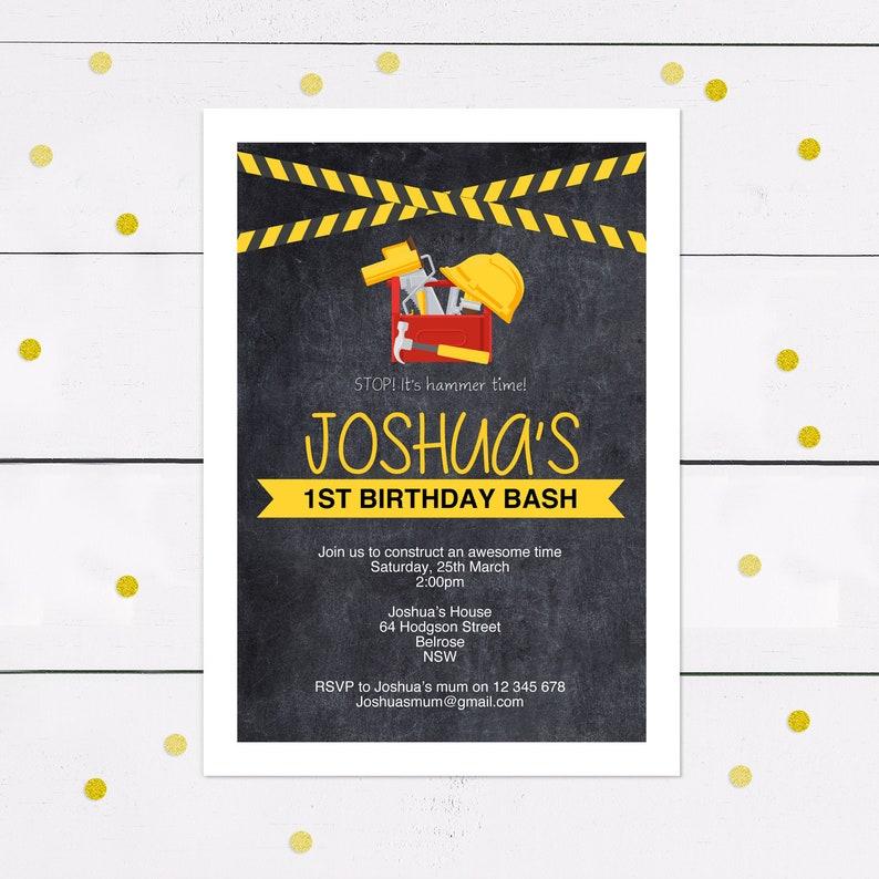 Boys Birthday Invitation Construction Theme Building