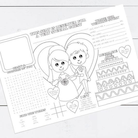 Printable Kids Wedding Activity Placemat Childrens Reception