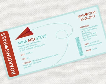 printable save the date boarding pass photo card digital file