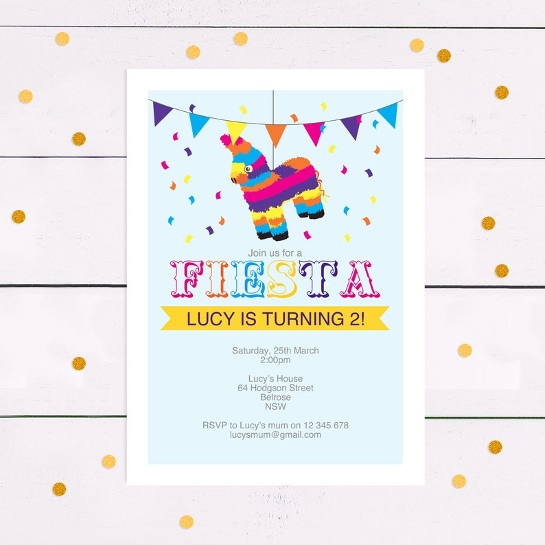 photograph relating to Donkey Pinata Template Printable titled piñata youngsters birthday social gathering invite - do it yourself printable obtain - pdf editable template, mexican fiesta, female, boy, donkey, burro, cinco de mayo