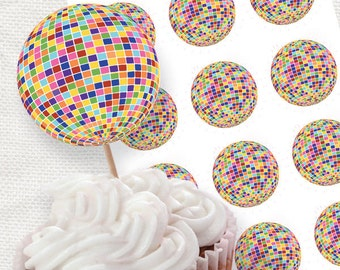 multi coloured disco ball party circles - printable party decorations - cupcake topper glitter ball colourful dance birthday party teenager