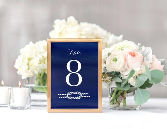 Tie The Knot Printable Wedding Table Numbers Downloadable Etsy