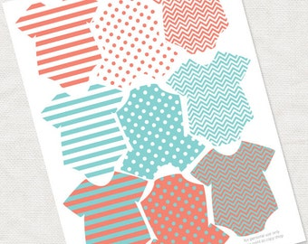 baby shower decoration - gender neutral baby shower garland,  banner bunting in coral and turquoise - diy printable instant download digital