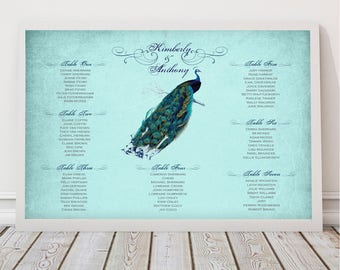 peacock wedding seating chart by table or alphabetical, customised seating plan, printable file, reception decoration guest list, table plan
