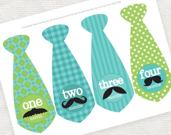 baby monthly printable tie stickers moustache mustache, boy month photo milestone stickers instant download turquoise green t-shirt transfer